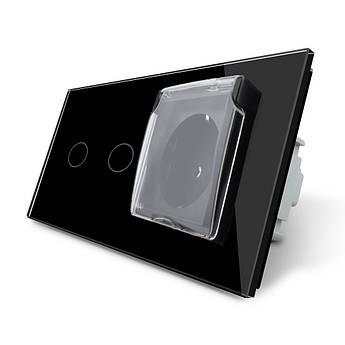 Сенсорный выключатель 2 канала Розетка с крышкой IP44 Livolo черный стекло (VL-C702/C7C1EUWF-12)