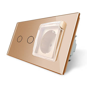 Сенсорный выключатель 2 канала Розетка с крышкой IP44 Livolo золото стекло (VL-C702/C7C1EUWF-13)