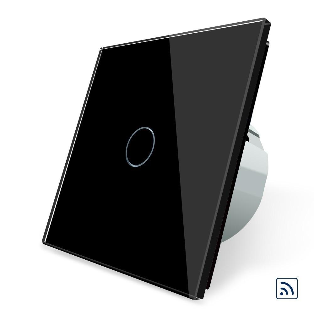 Сенсорный радиоуправляемый выключатель Livolo черный стекло (VL-C701R-12)