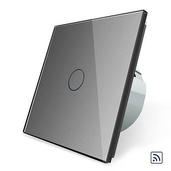Сенсорный радиоуправляемый выключатель Livolo серый стекло (VL-C701R-15)