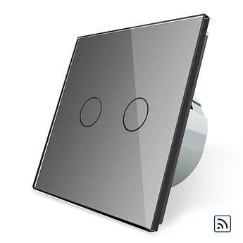 Сенсорный радиоуправляемый выключатель Livolo 2 канала серый стекло (VL-C702R-15)