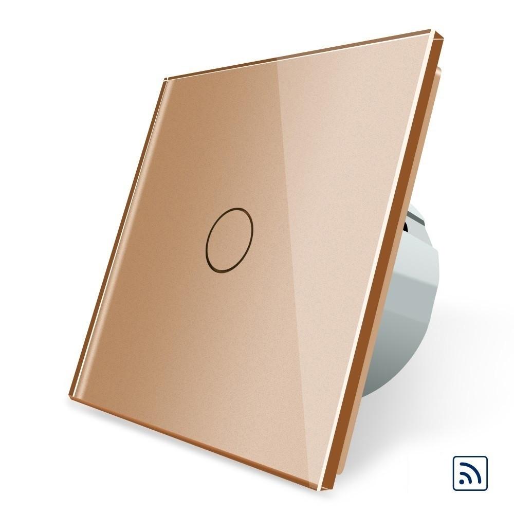 Сенсорный выключатель с дистанционным управлением Livolo золотой стекло (VL-C701R-13)