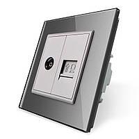 Компьютерная розетка RJ-45 ТВ розетка Livolo серый стекло (VL-C791VC-15), фото 1