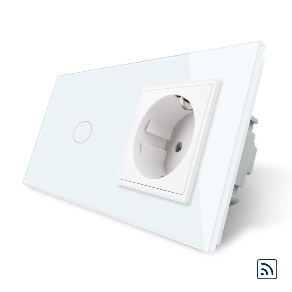 Сенсорный радиоуправляемый выключатель с розеткой Livolo белый стекло (VL-C701R/C7C1EU-11)
