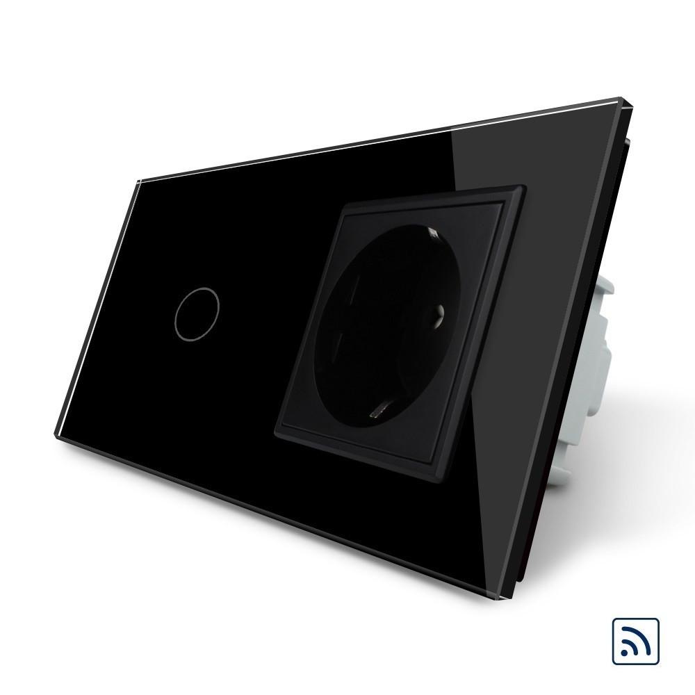 Сенсорный выключатель с дистанционным управлением с розеткой Livolo черный стекло (VL-C701R/C7C1EU-12)