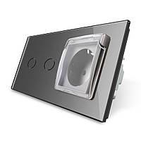 Сенсорный выключатель 2 канала Розетка с крышкой IP44 Livolo серый стекло (VL-C702/C7C1EUWF-15), фото 1