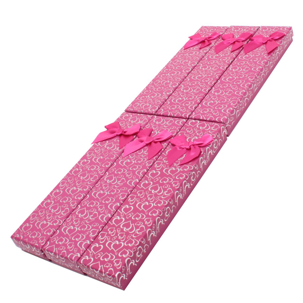 Подарочная коробочка под браслет или цепочку Сердечки с бантом фуксия 20,5*4,5*2 см