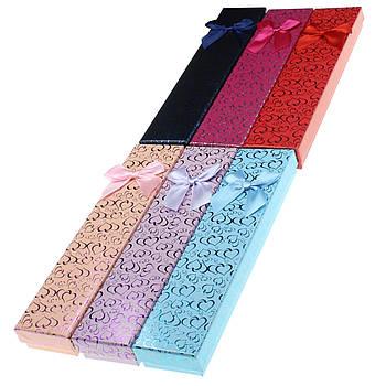 Подарочная коробочка под браслет или цепочку Сердечки с бантом 20,5х4,5х2 см, микс цветов