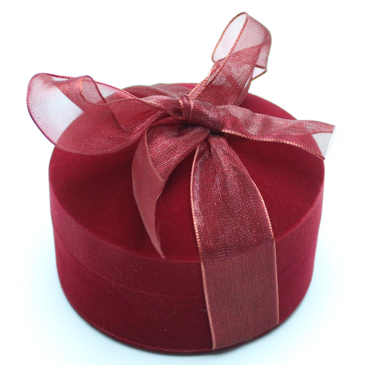Футляр для кольца Круг с бантом бордо