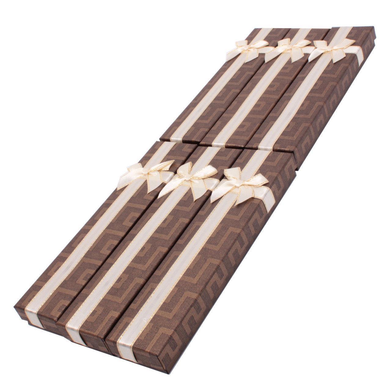 """Подарочная коробочка под браслет или цепочку """"Геометрия с бантом коричневая 20,5 х 4,5 х 2 см"""""""