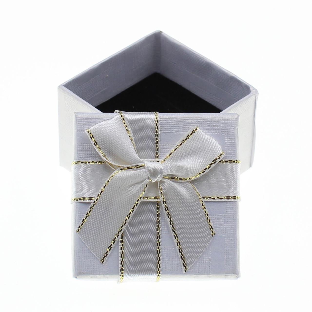 """Коробочка для кольца """"Геометрия с бантом под кольцо белая 5х5х3,5 см"""""""