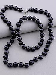 Комплект украшений чёрного цвета из натурального агата бусы и браслет длина 47 см