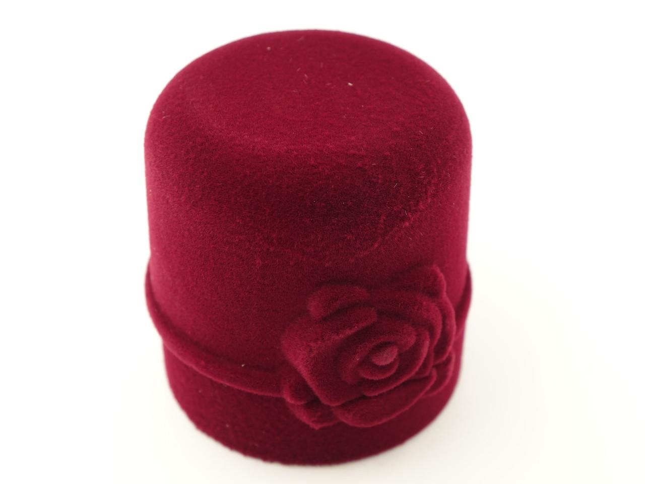 """Бархатный футляр для кольца """"Цилиндр с розой"""" бордо"""