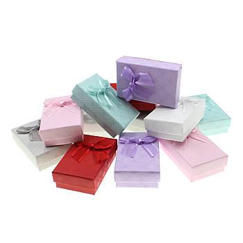 Подарочная коробочка под набор Геометрические узоры с бантом 8х5х3 см, розовый