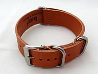 Стильный кожаный ремешок Bros, светло коричневый, фото 1