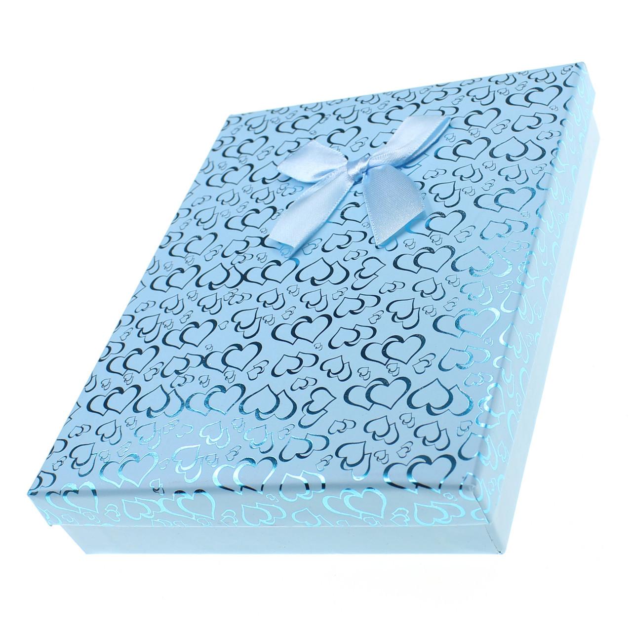 Подарочная коробочка под набор Сердечки с бантом  16,5х12,5х3 см, голубая