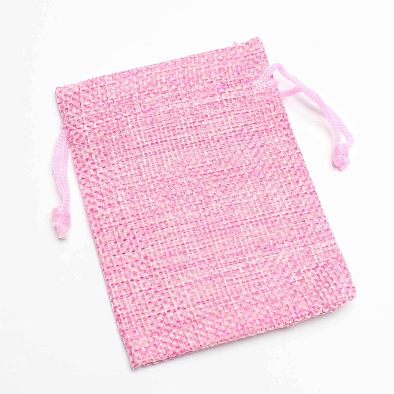 Мешок тканевый лен розовый 7/9 см