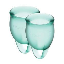 Набор менструальных чаш Satisfyer Feel Confident (dark green), 15мл и 20мл, мешочек для хранения 18+