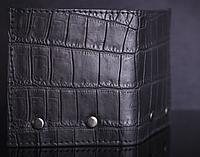 Мужской кошелек под крокодила черный, фото 1