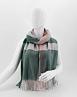 Шарф M&JJ СЭЛЛ Изумрудный/розовый/белый 65х200 см (1063)
