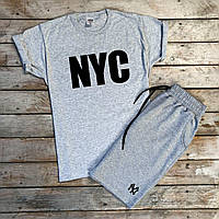 Чоловіча футболка сіра принт NYC, S,M,L,XL / мужская серая футболка з принтом