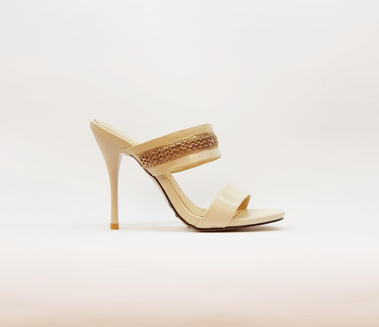 Сабо женские летние бежевые на высоком каблуке искусственная кожа