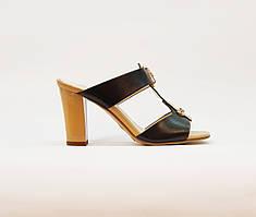 Сабо женские летние бежевые на среднем каблуке искусственная кожа лаковая