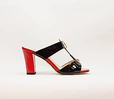 Сабо женские летние черные на среднем каблуке искусственная лаковая кожа