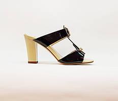 Сабо женские летние черные на среднем каблуке искусственная кожа лаковая