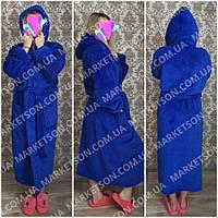 Большие размеры 50-62! Махровый длинный женский халат с капюшоном.
