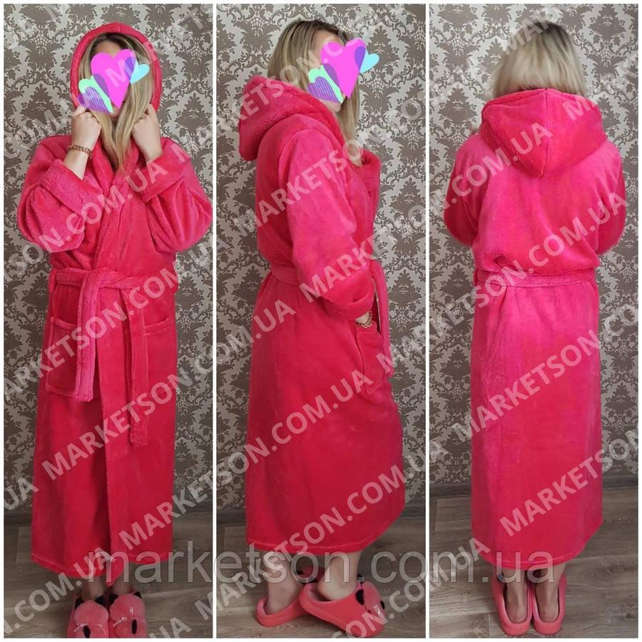 Большие размеры 50-62! Махровый длинный женский халат с капюшоном