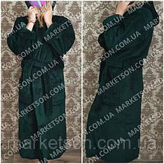 Большие размеры 50-62! Махровый длинный женский халат с капюшоном, фото 2