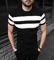 Чоловіча футболка чорна в полоску Premium S,M,L,XL / мужская черная футболка слим в горизонтальную полоску