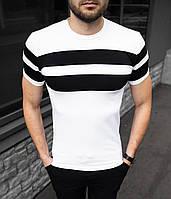 Чоловіча футболка біла в полоску Premium S,M,L,XL / мужская белая футболка слим в горизонтальную полоску