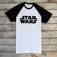 Чоловіча футболка біла Star Wars, S,M,L,XL / мужская двухцветная футболка белая черная Звездные Войны