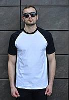 Чоловіча футболка чорно-біла однотон, S,M,L,XL / мужская двухцветная футболка белая черная однотонная