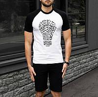Чоловіча футболка біла Лампочка S,M,L,XL / мужская двухцветная футболка белая черная Лампа