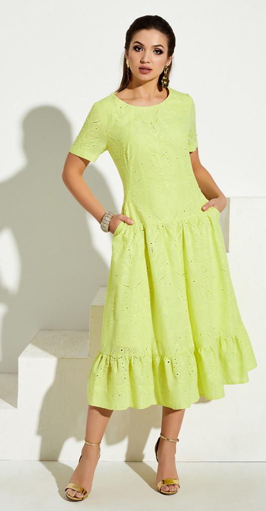 Платье Lissana-3974/1 белорусский трикотаж, лимонный, 52