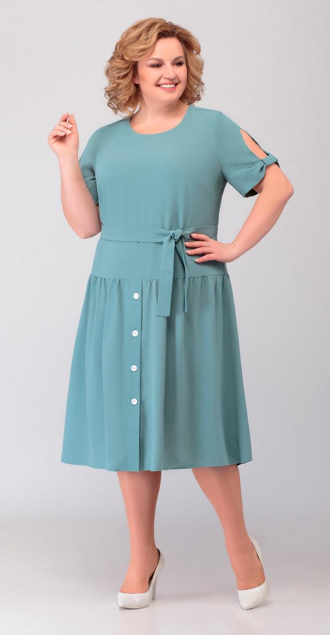 Платье Асолия-2471 белорусский трикотаж, светлая бирюза, 52