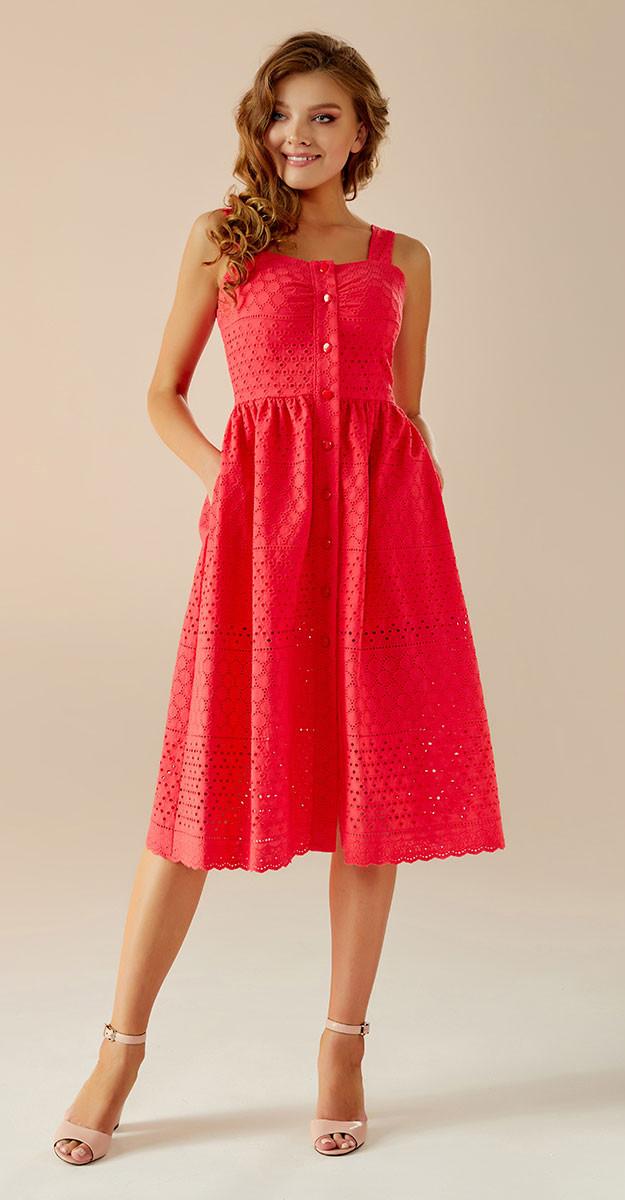 Платье Andrea Fashion-AF-16/4 белорусский трикотаж, коралл дизайн 3, 42