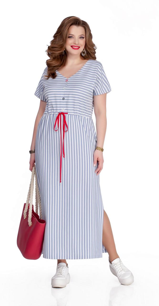 Платье TEZA-1042 белорусский трикотаж, белый-джинс, 50