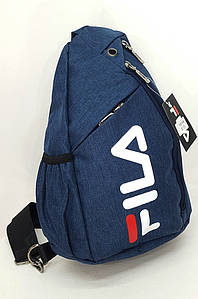 Мужская нагрудная сумка FL тканевая синяя 37/22/9 1814