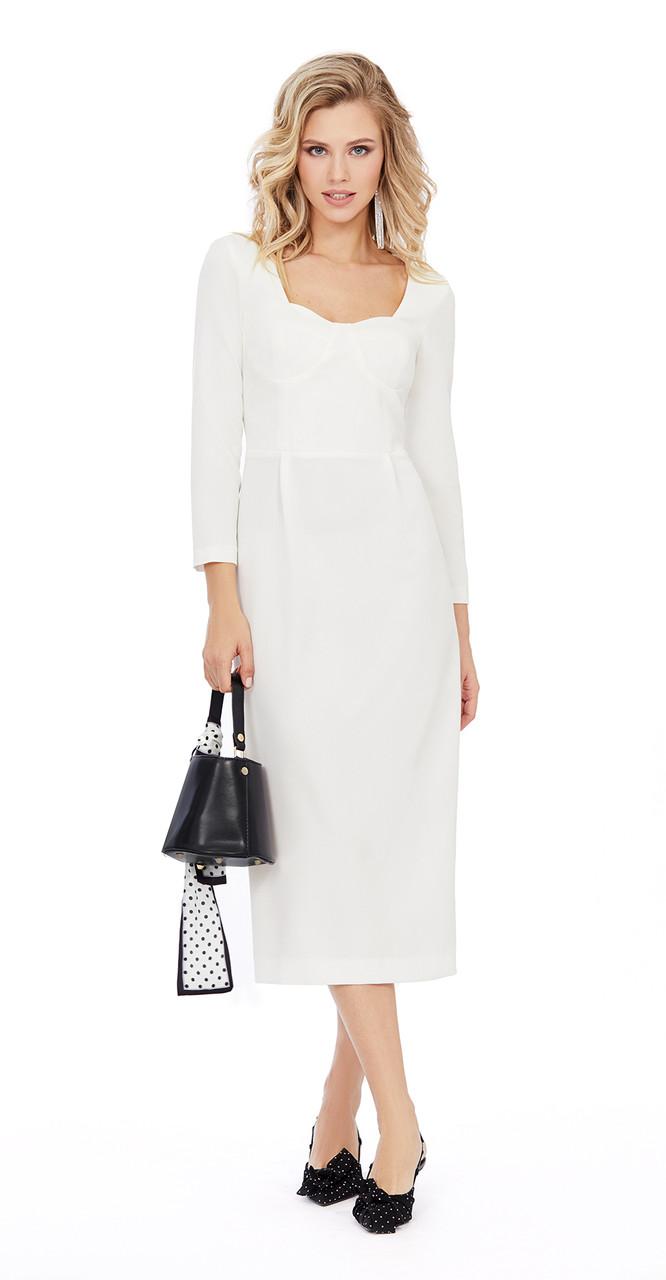 Платье PiRS-963 белорусский трикотаж, молочный, 40