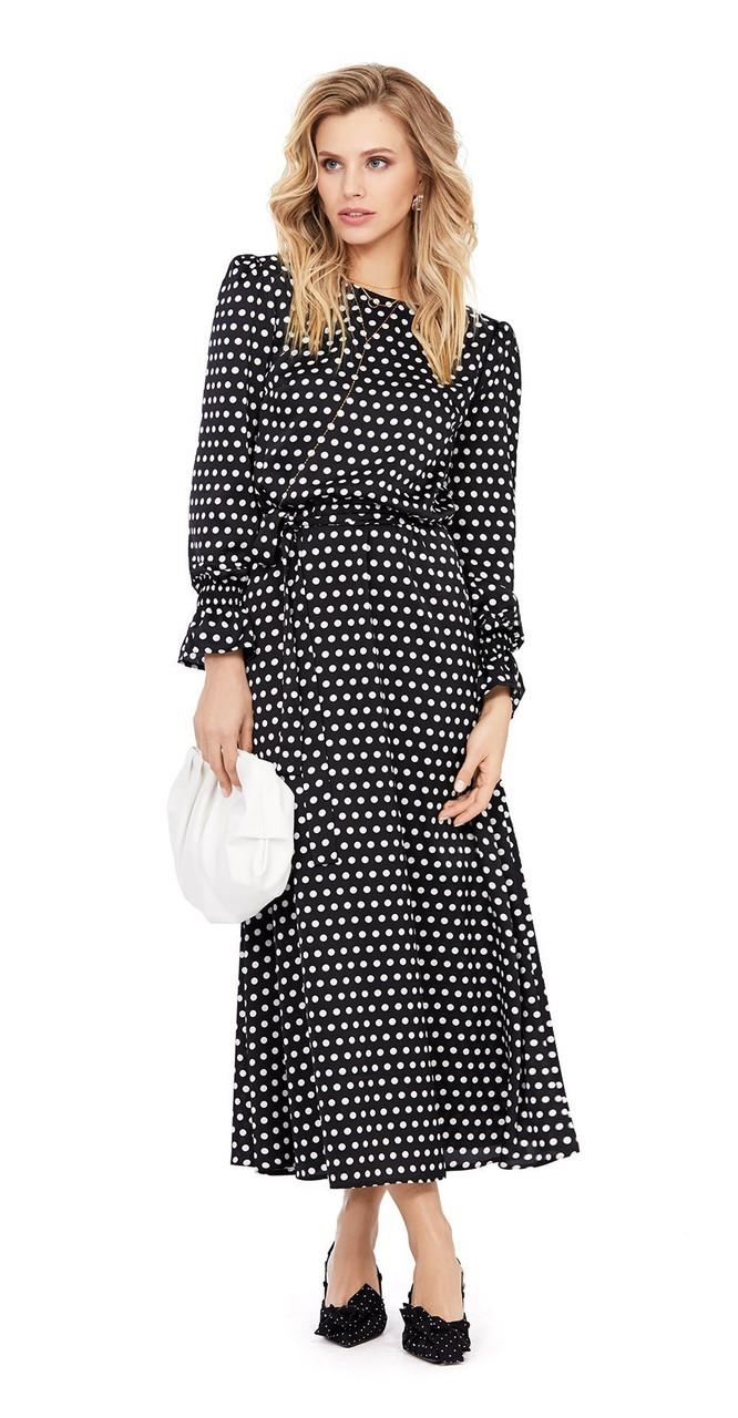 Платье PiRS-964 белорусский трикотаж, темно-синий в горошек, 40
