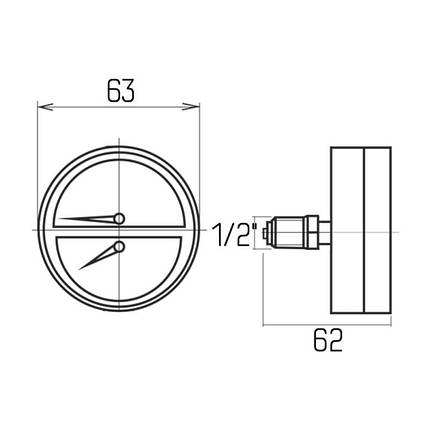 """Термоманометр Icma 1/2"""" 0-6 бар, заднє підключення №259, фото 2"""