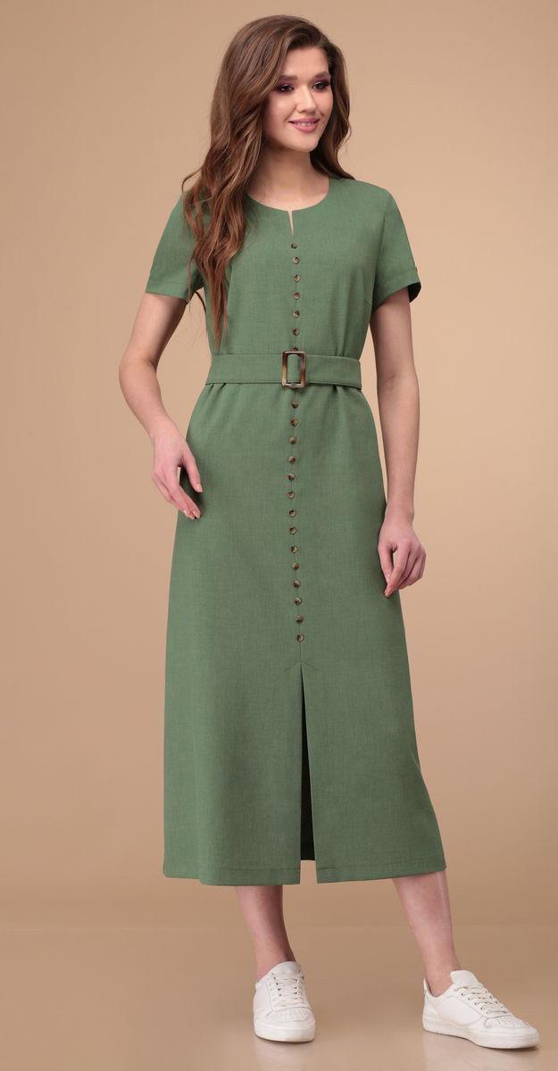 Платье Линия-Л-Б-1797/1 белорусский трикотаж, зеленый, 48