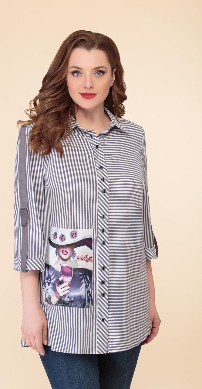Блузка Дали-2482 белорусский трикотаж, серый-полоски, 54