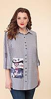 Блузка Дали-2482 белорусский трикотаж, серый-полоски, 54, фото 1