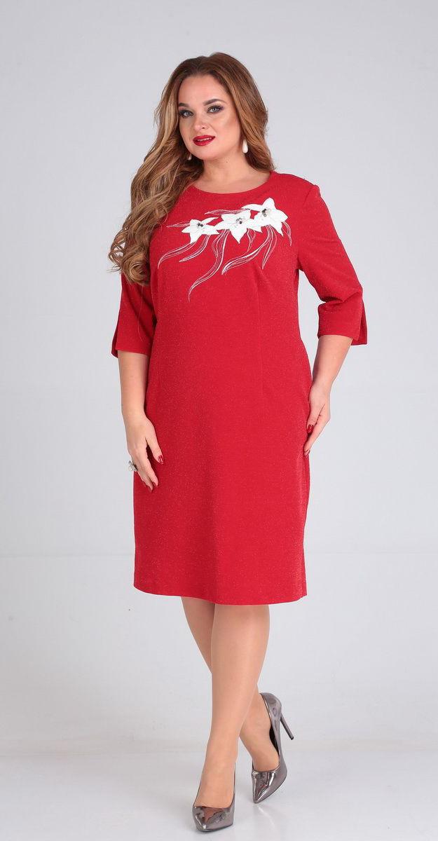 Платье Andrea Style-00241/1 белорусский трикотаж, красный, 54