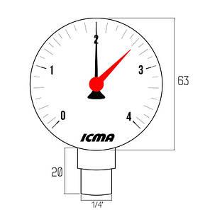 """Манометр Icma 1/4"""" 0-10 бар, нижнє підключення №244, фото 2"""